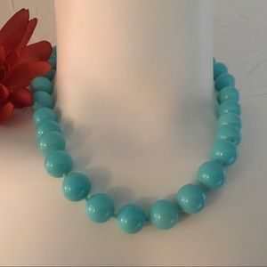 Blue Beaded Acrylic Necklace with Clasp Vintage